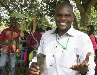 UCBC's Academic Dean, Honoré Kwany, prepares for planting